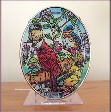 """Birds & Blossoms Stained Glass Suncatcher by AMIA Hand Painted 7"""" Free U.S. Ship"""