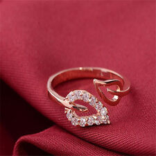 Cute  Women  Gold Plated Crystal Rhinestone Leaf Finger Ring Chic Jewelry  Gift