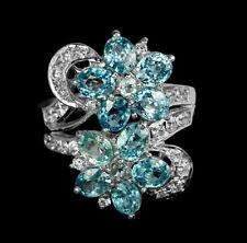 925 Silber Ring Weißgold beschichtet Sea Foam Blau Zirkon & Klar Cubic Zirconia