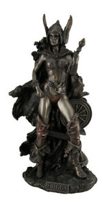 Frigga Norse Goddess of Love Marriage and Destiny Standing Near Spindle Statue