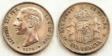 Spain-Alfonso XII. 1 Peseta. 1876*18-76. Madrid. EBC-/XF- Plata 5 g. RARA