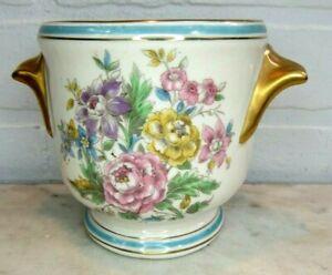 VINTAGE GILDED FLOWERS ROBIN EGG BLUE BANDS Porcelain Cache Pot Planter