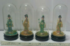 4 Chinese Ancient Beauty Women Figurines in Glass Dome with Wood Stand Display