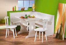 Tavolo cucina con due sedie e panca angolare contenitori legno massello bianco