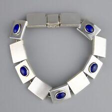 Vintage Mexico Square Modernist High Quality Lapis Bracelet Sterling Silver Heav