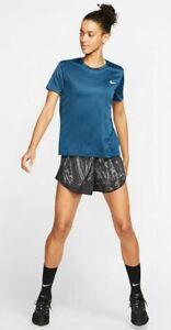 Nike Womens Miler Running Top Short Sleeve T Shirt, Dri-FIT Tee, Teal, Large