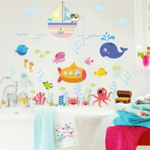 Underwater Fish Bubble Wall Stickers For Kids Room Cartoon Animals Wall Decals