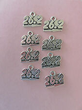 """DIY 8 MARATHON PENDANTS: """"26.2"""" antiqued silver plated charms 15MM BY 20MM"""