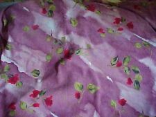 Moleskin Faux Suede Stretch Fabric Plum Purple Roses Satin Backed 44 Wide