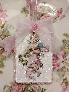 Shabby Chic Cherub Pink Roses Valentine Christmas Ornament German Glass Glitter