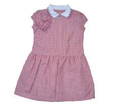GIRLS SCHOOL SUMMER  DRESS RED GINGHAM & SCRUNCHIE 3 TO 13 YEARS