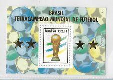 BRAZIL 1994 SOCCER WORLD CUP CHAMPION SOUVENIR SHEET GOLDEN CUP