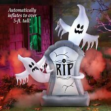 5 Ft. Tall Lighted Airblown Inflatable Ghostly Tombstone Outdoor Halloween Decor