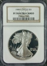 1989 S American Silver Eagle $1 Coin (Brown Label). NGC Graded PF 70 ULTRA CAMEO