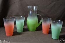 Antique Blendo Pitcher MultiColor w/ Tumblers West Virginia Glass Nice Condition