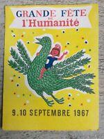 Ticket Fête De L'humanité de Septembre 1967  No 0323701
