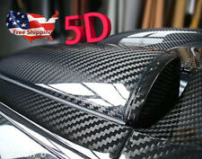 "New 5D Ultra Gloss Glossy Black Carbon Fiber Vinyl Wrap Sticker Decal 12x60"" US"