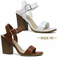 LADIES SUMMER SANDALS WOMENS BLOCK HEEL WIDE FIT STRAPPY PARTY DRESS SHOES SIZE