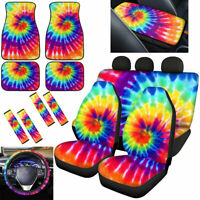 Tie Dye Car Seat Covers with Floor Mats,Steering Wheel Cover Full Set for Women