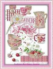 Kit broderie point de croix  ,Cross Stitch Kit , Service à thé rose 14CT 37*47cm