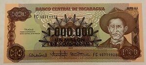 Nicaragua 1 Million Cordobas 1990 UNC