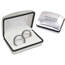 Incisione Personalizzato Cromo Scatolina Per Doppio Anello - Matrimonio (XRB01)