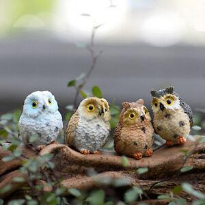 4 X Garden Owl Moss Terrarium Desktop Decor Crafts Bonsai Animals MiniaN*ca