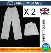 More details for 2x white chef trousers elasticated uniform plain unisex work kitchen work pants