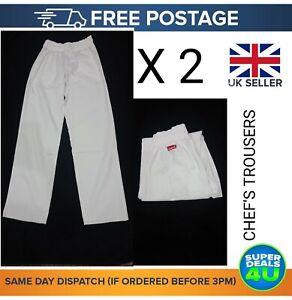 2X White Chef Trousers Elasticated Uniform Plain Unisex Work Kitchen Work Pants