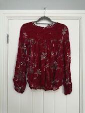 Next Deep Red Floral Blouse Size 8