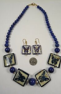 Lee Sands Bone Inlaid Butterfly beads w Blue Calcite NK & ER set
