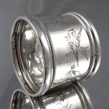 Antique French Sterling Silver Napkin Ring, Bird & Flower, Hallmark, Monogram FD