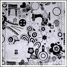 BonEful FABRIC FQ Cotton Quilt White Black VTG B&W Sewing Machine Dot Flower Dot