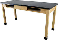 Industrial Laboratory Table - Oak with Black Epoxy Resin Lab Top