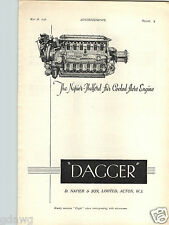 1936 PAPER AD Airplane Napier & Son Dagger Air Cooled Engine Plane
