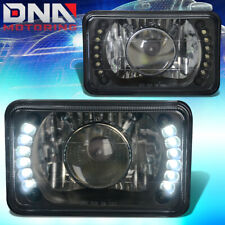 4x6 H4656 SQUARE BLACK HOUSING GLASS PROJECTOR LED HEADLIGHT+H4 BULB+BLUE LAMPS