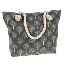 Large Canvas Beach Bag, Grey Tree of Life Rope Handles Trees Zipped Holiday Bags