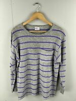Avon Fashions Vintage Women's Long Sleeve T Shirt - Size M - Grey Purple Stripe