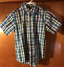 e132abf7a1aa Basic Editions Boys Short Sleeve Plaid Button Down Shirt (Size 8) Youth M