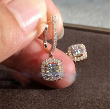 4.20Ct Round Cut Sparkle Moissanite Drop & Dangle Earring's 14K Rose Gold Finish