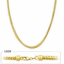 "3mm 16"" 24 gm 14k Solid Yellow Gold Polished Men's Women's Franco Chain Necklace"