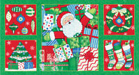 "BOGO Moda Christmas Fabric Panel ""Ho Ho Ho"" Deb Strain19700-13  Green"