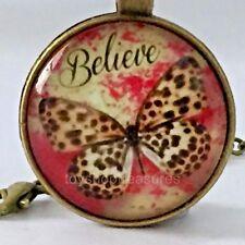 New Butterfly Necklace  Believe Butterfly Pendant - Antique Brass j