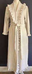 Soft Surroundings Ivory Soft Long Robe Womens PM Belted Pockets Plush Ruffled