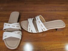 NEW Coach Ariana Slide Block Heel Sandals WOMENS 11 Chalk/Beechwood $145.00