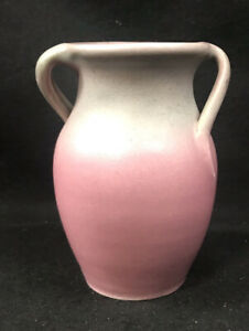 Niloak Swirl Handles Vase Moss Greeen Over Pink