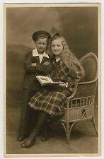 Furniture CHILDREN w LOOM CHAIR / KINDER m KORBSESSEL * Vintage 1910s Photo PC