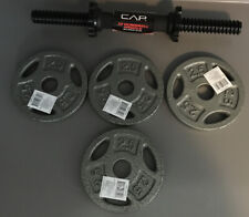 """CAP 14"""" Dumbbell Handle Bar Spinlock Steel Metal With 4 2.5lb Plate Weights NEW"""