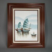 Original Oil Painting on Canvas Asian Junk Fishing Boats Signed by P. Wong