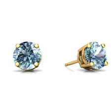 Natural Aquamarine Round Stud Earrings 14Kt Yellow Gold